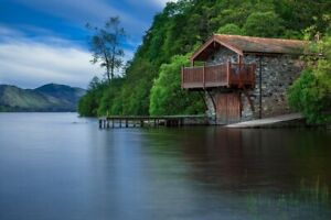 Boat-House-Cottage-Waters-Lake-Scotland-Blue-PICTURE-CANVAS-WALL-ART-20-034-X30-034