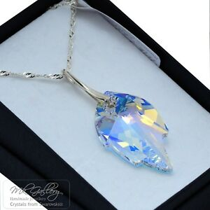 925-Silver-Necklace-made-with-Crystals-from-Swarovski-26-30mm-LEAF-Crystal-AB