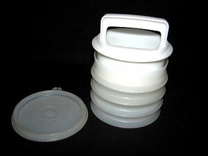 Tupperware Hamburger Press Set with 4 Stacking Storage Containers