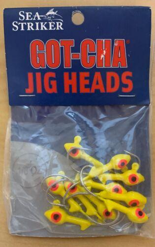 Sea Striker Gotcha 10PK Yellow Fishing Fish Boat Jig Heads...1//4 Ounce