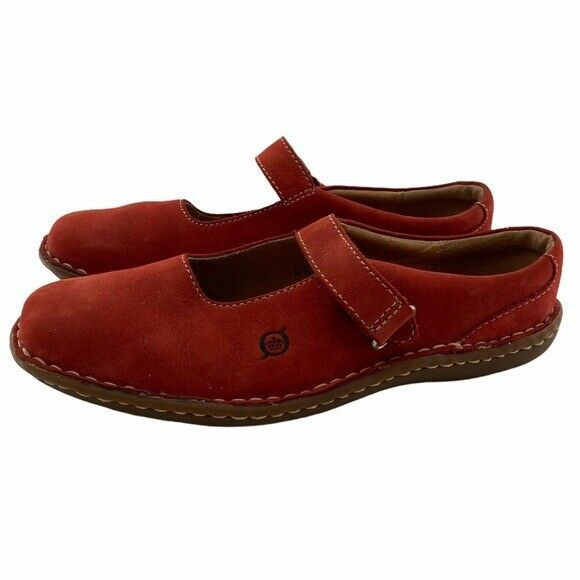 Born Women's Red Suede & Leather Mary Jane Flats Size 7