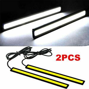 Super-Brillante-Blanco-2x-Impermeable-para-Coche-COB-LED-Luces-Lampara-Conduccion-DRL-Niebla-DC-12V