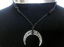 Filigree Crescent Moon Charm (39*33mm) Adjustable Wax Cord Necklace Tribal, Surf