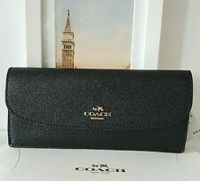 New Coach Slim Envelope Wallet Soft Wallet in Crossgrain Black Leather F54008