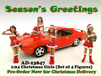 Christmas Girls 4pc Figure Set For 1:24 Scale Models By American Diorama 23847