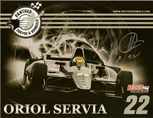2012 ORIOL SERVIA signed INDIANAPOLIS 500 PHOTO CARD POSTCARD INDY CAR CHEVY wCA