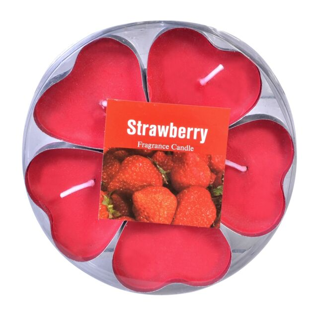 5X Scented Candle Srawberry Shape heart Tea Light Tealight candle reso