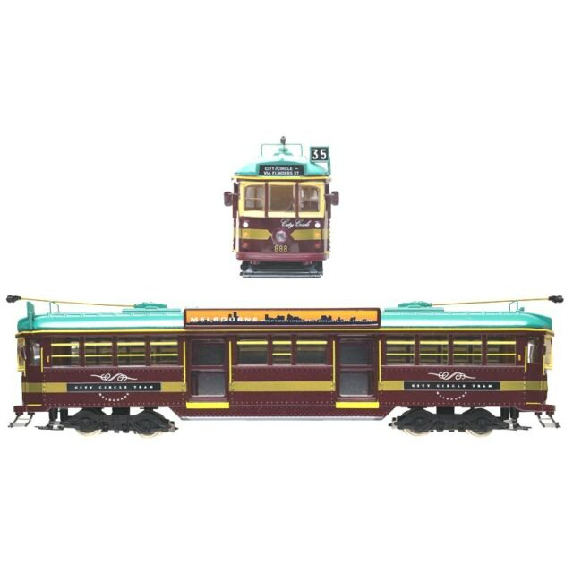 ELECTRIC 1:76 OO Gauge W6 Class Melbourne City Circle Tram - # 888 Diecast Model