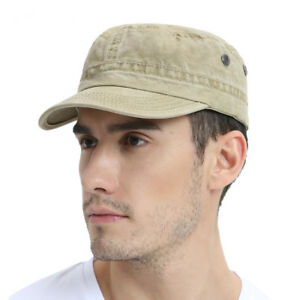 Military-Cap-Men-Women-Washed-Cotton-Flat-Top-Army-Hat-with-Air-Hole-Adjustable
