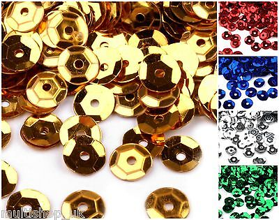 15g of 7mm Loose Cupped Metalic Sequins 7 COLOURS Craft Sewing Applique 1300 pcs