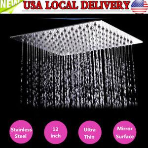 12'' Square Stainless Steel Rain Shower Head Rainfall Home Bathroom Top Sprayer