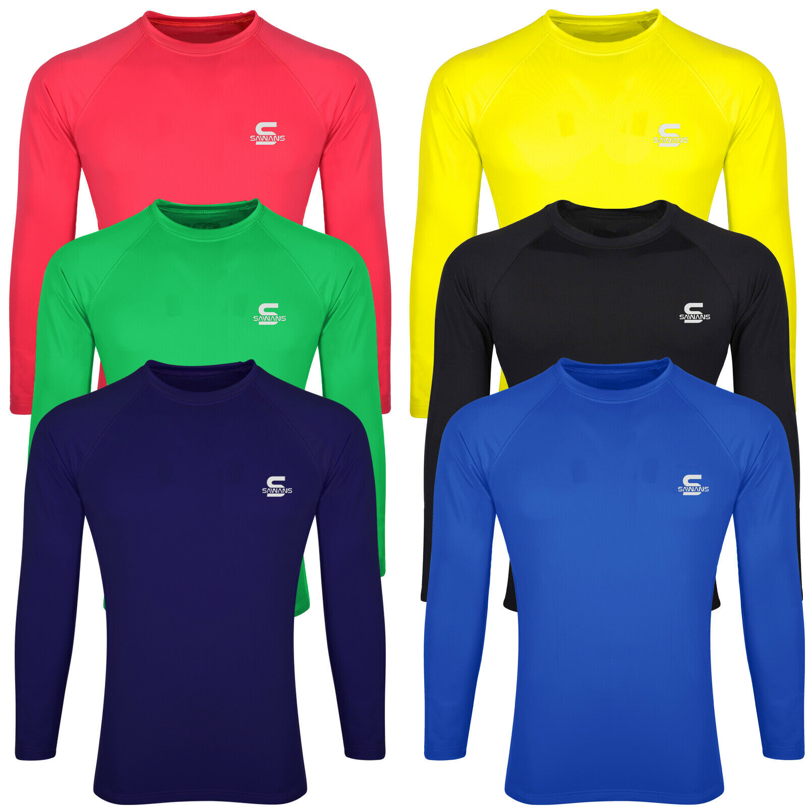 SAWANS® Base Layer Top Body Armour Compression Under Shirts Skins Gym Fit Sports