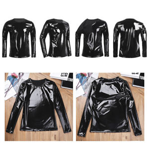 MEN-Metallic-Wet-Look-Cuir-Manches-Longues-T-shirt-Top-Club-Wear-Fermeture-Eclair-O-cou