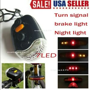 7LED Bicycle Bike Tail Turn Signal Directional Brake Light Lamp W// Horn Mount US