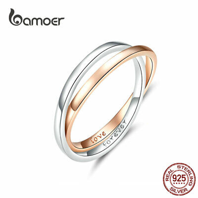 Bamoer European Women Rose Finger Ring S925 Sterling Silver Love Forever Jewelry Ebay