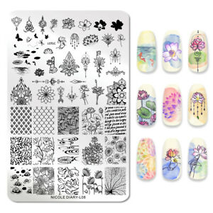 NICOLE-DIARY-Rectangle-Nagel-Schablone-Lotus-Leaf-Image-Stamp-Templates-L08