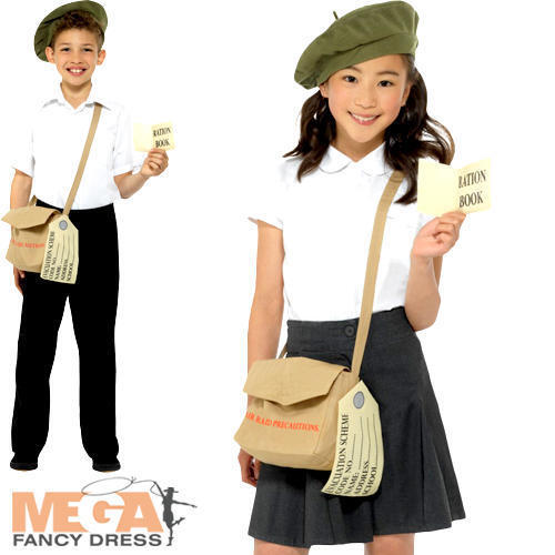 Details about  Wartime Instant Kit Kids Fancy Dress History Britain 30s 40s Childs Costume Set