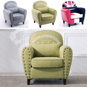 Union Jack / Letters Printed Single Sofa Studded Armchair ...