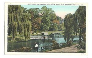 Lake And Boat House Rural Park Poughkeepsie New York Vintage Postcard NP1