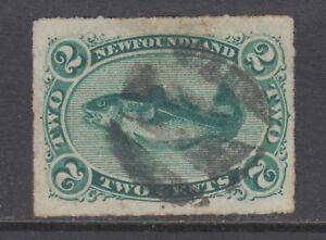 Newfoundland Sc 38 used. 1879 2c green Codfish, rouletted, sound