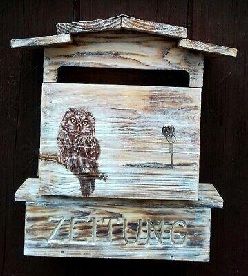 """Postkasten, Briefkasten, Mailbox, Motiv """"eule"""", Shabby Look,dekorativ Warm Und Winddicht"""