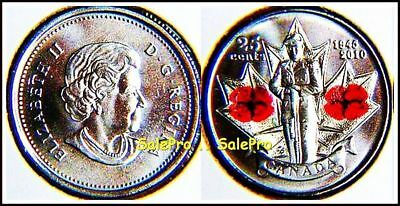CANADA 2010 CANADIAN QUARTER WWII VETERAN COLORIZED POPPY 25 CENT COIN UNC