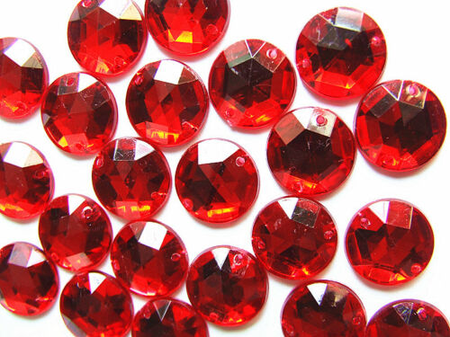 100 Ruby Red 10 mm Round Faceted Surface Acrylic Rhinestone Gems Flatback Sew on