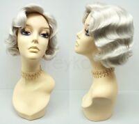 Light Gray Finger Waves Wig Short 1920s Gatsby Flapper Vintage Old Lady Costume