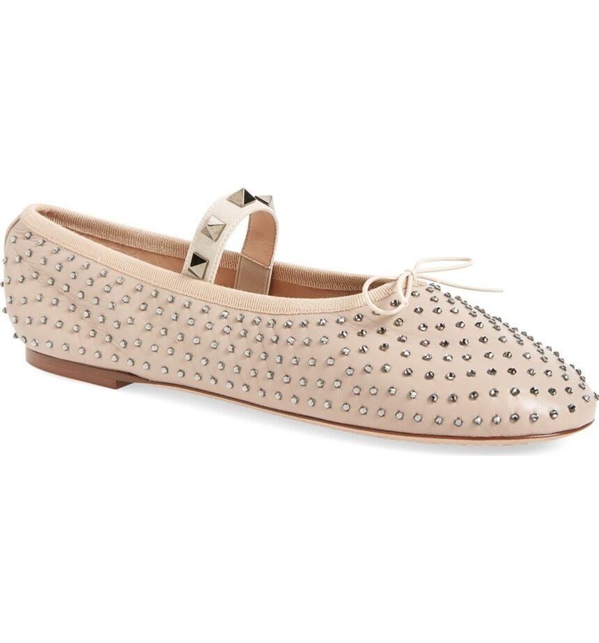 VALENTINO Crystal Rockstud Studded Ballet Ballerina Flat Leather Shoe Leather Flat Nude 39 -9 f143f2