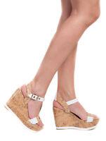 Women White Summer Strappy Cork Wedge Platform High Heel Sandals Size 4,5,7