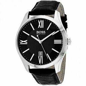 33ef462bde42 Hugo Boss Men s Ambassador Black Leather Strap Watch 43mm 1513022 ...