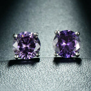 Wedding-Purple-Color-Natural-Amethyst-Gemstone-Silver-Woman-Stud-Hook-Earrings