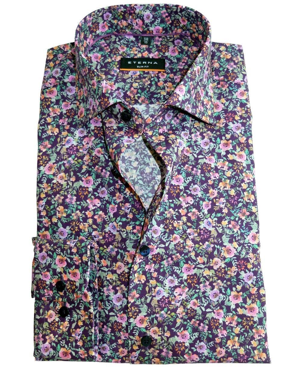 Eterna Slim Fit Langarmhemd purple mit buntem Floraldessin ÄL 67cm Gr. 39 bis 44