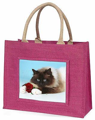 Birman Point Katze mit rotem Rose Große Rosa Einkaufstasche Weihnachten Geschenk