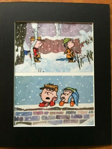 CHARLIE BROWN~LINUS VAN PELT~PEANUTS~8 x 10 Mat Print~ICE SKATING /& LIFE LESSONS