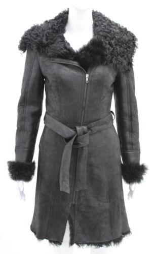 classe nera pelle Cappotto lusso di signore shearling di montone della montone della regina di di della di delle pelliccia donne riccia delle z54qwP5Z