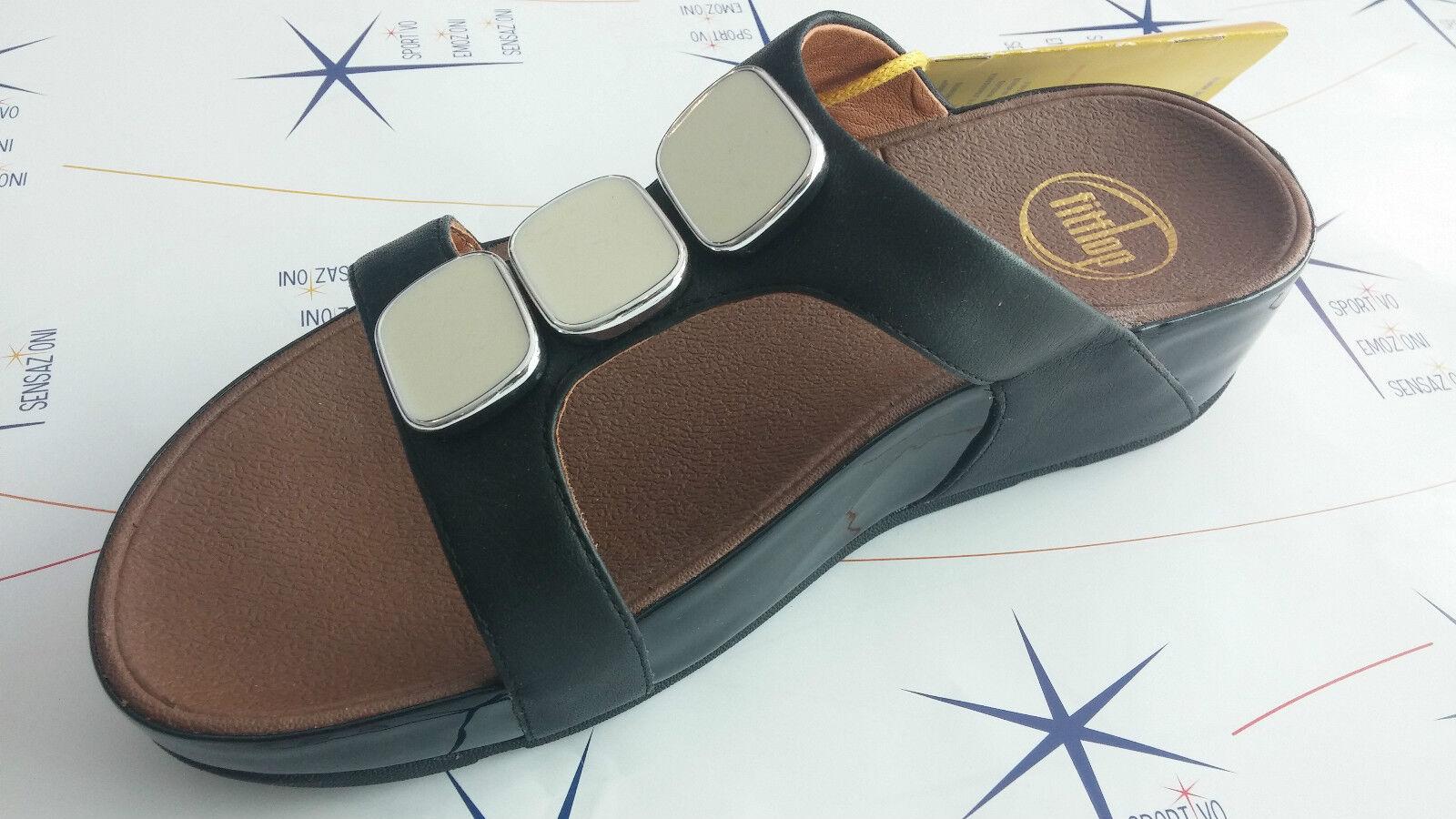 Zapatillas Mujer FitFlop Piedra II Diapositiva Charol En Negro 555 615