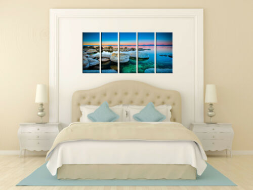 Sunset beach print on canvas framed 5 panel canvas print sunset wall art print