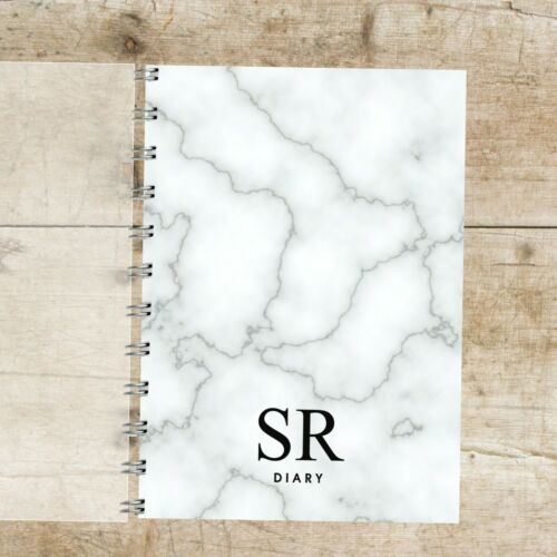 Black Grey Choice of Month Start Personalised Diary Marble Initials 12 months