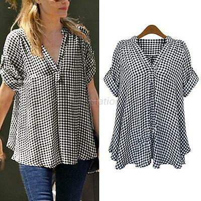 Women Plaid Casual Loose Summer Pullover T Shirt Top Blouse Plus Size XL-4XL M47