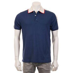 e9681ed4b0ca3 Image is loading GUCCI-680-Blue-Cotton-Polo-With-Gucci-Stripe