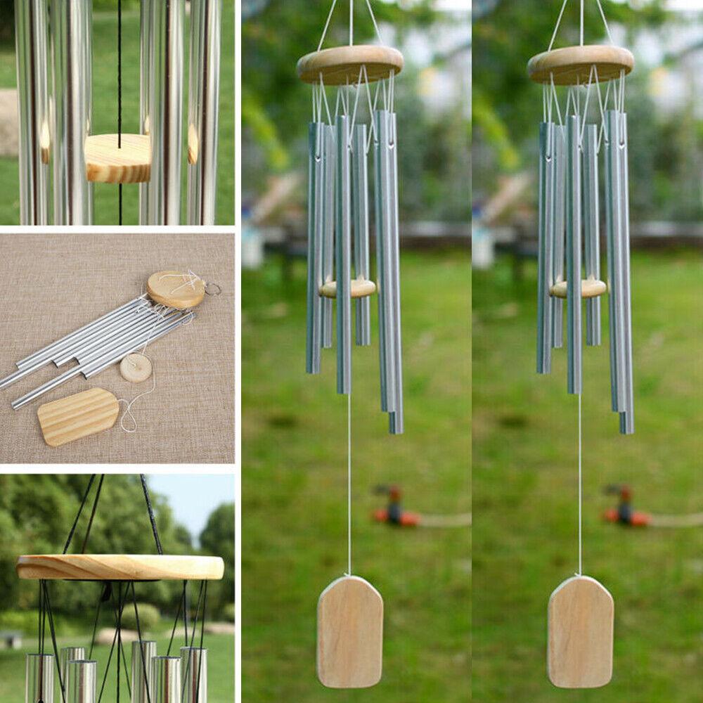 Large 6 Tubes Wind Chime Deep Tone Bells Chapel Garden Hanging Windchime Outdoor
