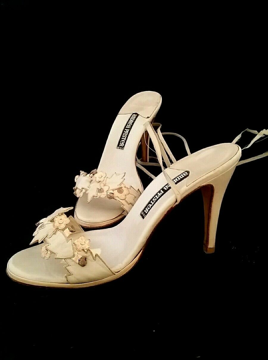 ANDREA ANDREA ANDREA PFISTER Vintage Größe 9 Leder Floral.Sandales w Ankle Straps Beige Peach cad72f