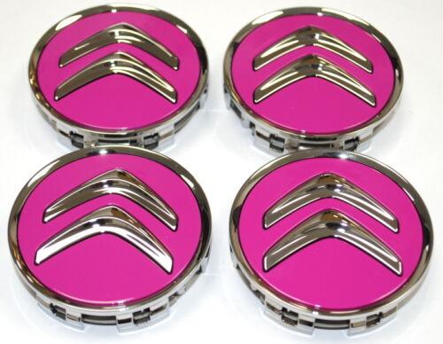 Citroen Fuschia Pink Alloy Wheel Centre Cap Set of 4 New Genuine 96705858HA