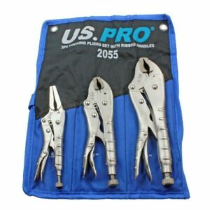 US-PRO-Heavy-Duty-3Pc-Locking-Pliers-Set-Ribbed-Handles-Mole-Grips-NEW-2055