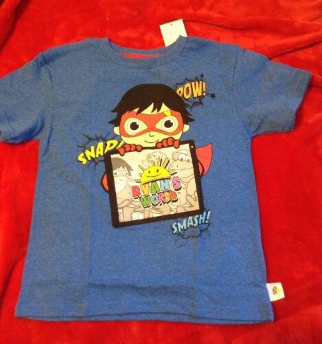 Ryan/'s World Boy/'s Graphic Tee Shirt Size 7 Red Titan Sun Sunshine Superhero