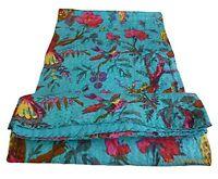 Bird Print King Size Kantha Quilt Sky Blue , Kantha Blanket, Bed Cover, King Kan