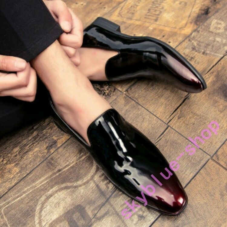 Mens Mixed color Patent Leather Slip On British Dress Formal Pointy Toe shoes sz