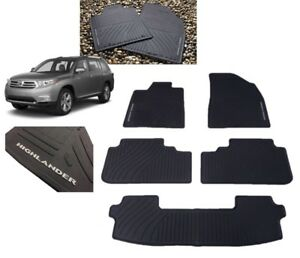 2008 2013 Highlander Floor Mats All Weather Mats 5pc Set W 3rd Row