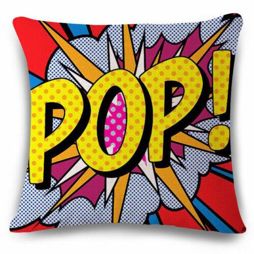 Home Decor Cotton Linen OK-Bang-Pop-chouette Art-Zap Throw Taie d/'oreiller Housse de coussin